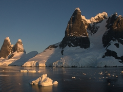 Sunset over the Lemaire Channel, one of the highlights of Antarctica