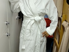 Becky ready for the jacuzzi; Akademik Ioffe