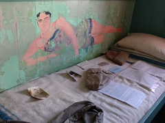 Semi-nude paintings of famous actresses were recently discovered in the bunk room of Port Lockroy