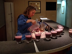 One Ocean staff Tammie preparing blueberry smoothies at the bar