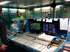 Ship engineer giving us a tour of the Russian research vessel Akademik Ioffe
