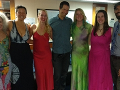 Dressing up for the Captain's Dinner - Jackie, Becky, Yulia, Ted, Allison, Elizabeth, and Brent