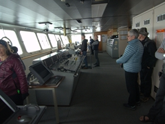 Checking out our progress from the bridge as we cruise to the Antarctic Circle