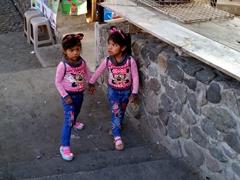 Cute girls dressing alike; Panajachel