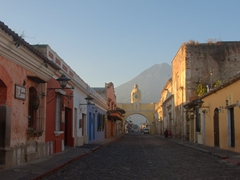 Early morning view of the Santa Catalina Arch, Antigua's most iconic landmark