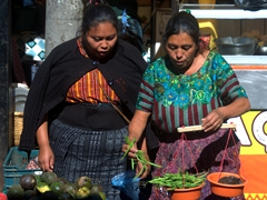 Weighing green beans; Panajachel market