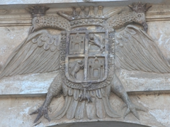 Crest of a double headed bird above the entrance to San Francisco Cathedral; Antigua
