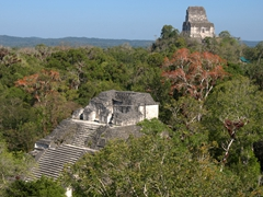 View of the Mundo Perdido (lost world) pyramid and Temple IV (the tallest building in the Maya world); Tikal