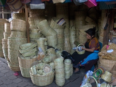 Hand woven baskets for sale; Antigua market