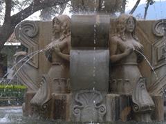 Central Park's semi-nude water fountain; Antigua