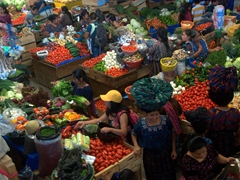 A bird's eye view of Panajachel's bustling Sunday market