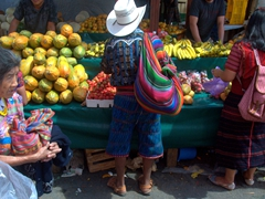 Vibrant outfits on full display at the Sunday market in Panajachel