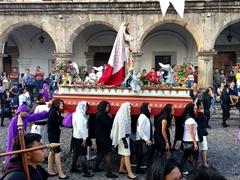 An elaborate Catholic religious procession celebrating Lent; Antigua
