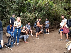 One of many well deserved rest breaks; Acatenango Volcano