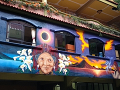Beautiful mural of Lake Atitlan; Panajachel