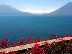 View of Lake Atitlan with Atitlán, Toliman and San Pedro volcanoes in the background