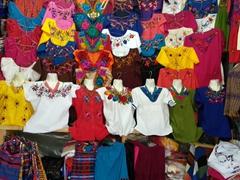 Traditional Guatemalan blouses for sale; Calle Santander in Panajachel