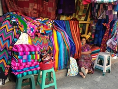 Colorful tableclothes for sale starting from 100Q; Panajachel