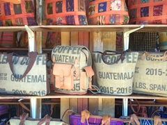 Recycled coffee sack purses; Panajachel