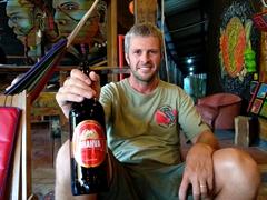 Enjoying a happy hour beer; Greengos Hostel