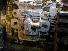 Stone mask of Mayan rain god Chac; North Acropolis in Tikal