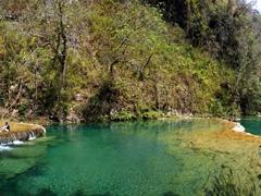 Semuc Champey is a natural 300 meter long limestone bridge