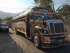 Guatemalan chicken bus; Antigua