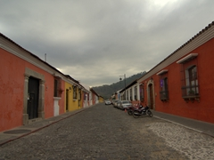 Bright colors dominate the colonial streets of Antigua