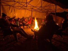 Enjoying a warm campfire at our base camp; Acatenango Volcano