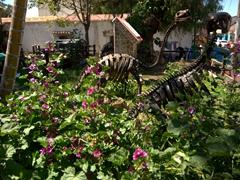 Dinosaur statues at a park in Panajachel