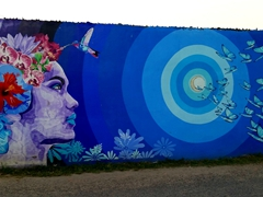 Colorful wall painting; San Ignacio