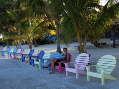 Beach chairs; Caye Caulker