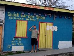 """""""You grow it, we mow it"""" - barber shop in San Ignacio"""