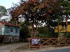 """""""Jesus is Lord of Belize"""" banner on a fence in San Ignacio"""
