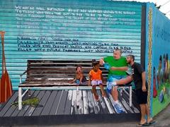 Robby checks out the street art; San Ignacio