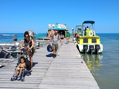 San Pedro Belize Express water taxi dropping us off in Caye Caulker