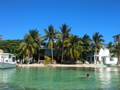 One of Caye Caulker's few swimming spots