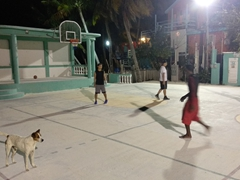 Caye Caulker's basketball court at night