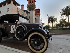 Ford vintage car parked in front of Lightner Museum