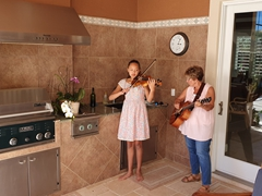 Our musical duo, Abby and Judy, performing for Easter brunch