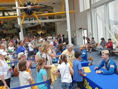 Blue Angels pilots meeting their fans after the show; National Naval Aviation Museum