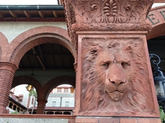 Terra-cotta lion head detail at Hotel Ponce de Leon in St Augustine