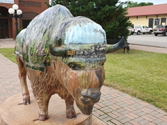 Painted buffalo statue in front of the Davis Chamber of Commerce; Oklahoma