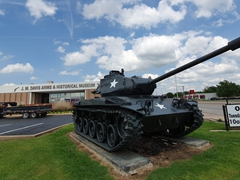M41 Walker Bulldog tank from the Korean War in front of J.M. Davis Arms museum; Claremore