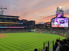 Cheering on the Colorado Rockies at Coors Field