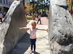 Norah at the split rock in Boulder