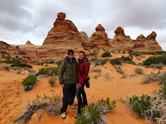Smiling after our visit to Cottonwood Cove; Coyote Buttes South