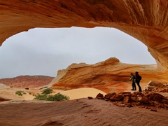 Seeking shelter from the rain; Coyote Buttes North