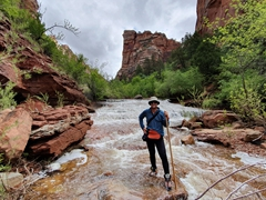 "After several hours of scrambling, we finally make it to the ""waterfall"" section of Zion's subway hike"