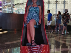Becky inside the shoe at the Cosmopolitan Hotel; Las Vegas